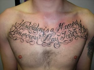 Fancy Script Chest Piece Tattoo