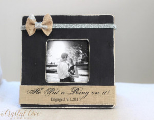 ... Picture Frame. Rustic Shabby Beach Wedding 'He Put a Ring on it' quote