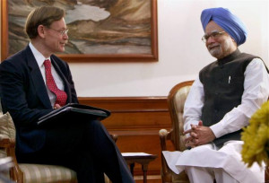 ... Robert Zoellick during the latter's visit to New Delhi. File Photo