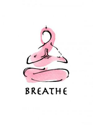 yoga art watercolor print breathe breathing meditating releasing ...
