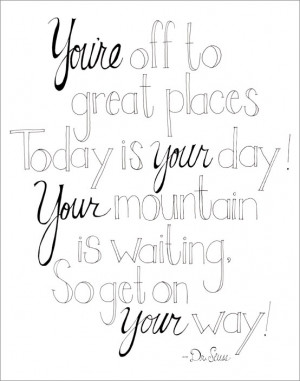 Dr Seuss Quotes Coloring Pages Great places dr seuss quote