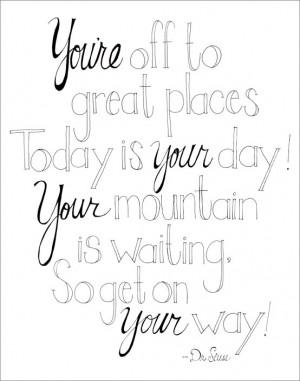 Dr Seuss Quotes Coloring Pages Great places dr seuss quote