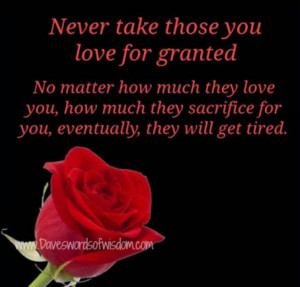 Never take for granted...