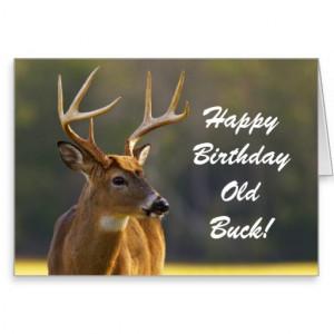 Hunting Funny Buck Animal Camo Happy Birthday 3 Greeting Card