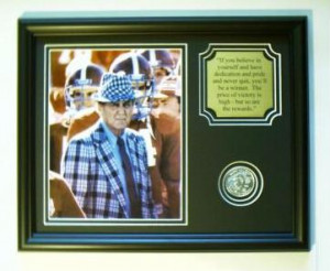 Alabama football BEAR BRYANT photo w/ quote and coin