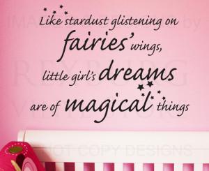 ... Sticker Quote Vinyl Art Little Girls' Dreams Magical Girl's Room K93