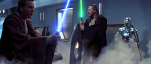 Qui-Gon and Obi-Wan prepare to fight their way out of the Trade ...