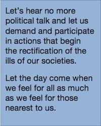 Let's hear no more political talk and let's demand and participate ...