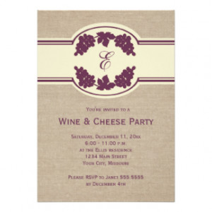 Monogram Wine and Cheese Party Invitations 5