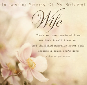 In Loving Memory Cards For Wife – Of My Beloved Wife