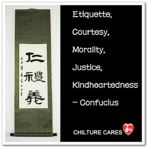 Three Tenets of Confucius Quotes Chinese Calligraphy Wall Scroll