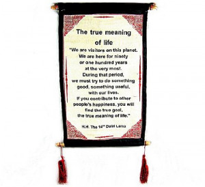 """... Canvas Scroll ~ """"The True Meaning of Life"""" ~ Natural White Color"""