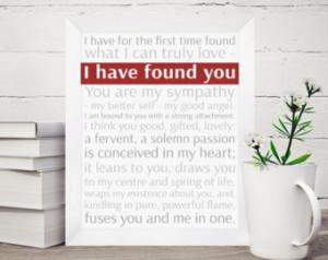 Romantic Jane Eyre typographic post er, Valentine / Anniversary gift ...