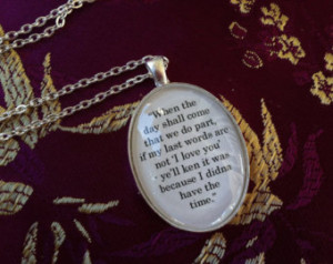 ... not I love you Book Quote Charm Oval Pendant Necklace Diana Gabaldon