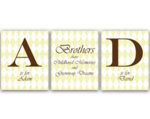 Kids Name Art, Brothers Wall Art, Brothers Quote, Personalized Kids ...
