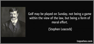 Golf may be played on Sunday, not being a game within the view of the ...