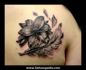 Flower And Feather Tattoos 1 Flower And Feather Tattoos