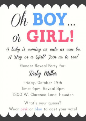 PRINTABLE Boy or Girl Pink or Blue Gender Reveal or Baby Shower ...