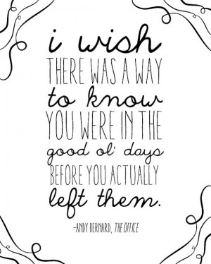 Good Ol' Days Quote - Andy Bernard - The Office Finale - Digital ...