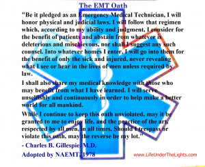 The EMT Oath as adopted by the NAMET