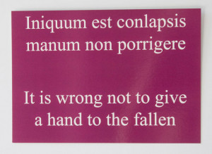 ... ! Give a hand - Dark magenta latin quote postcard - Seneca the Elder