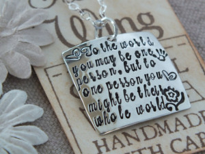 Caregiver nanny babysitter necklace, gift from child - Hand Stamped ...