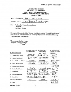 ... : FORMAL QUOTE NO.IW060227 LEE COUNTY , FLORIDA PROPOSAL QUOTE FORM