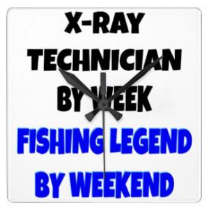Fishing Legend X-Ray Technician Square Wallclock