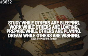 Study while other are sleeping. Work while other are loafing. Prepare ...