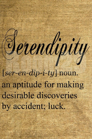 Serendipity! This word reminds me of one of my kids. Always seems to ...