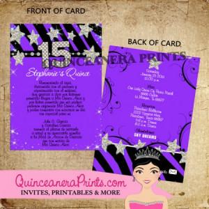 Purple Zebra Quinceanera Invitations P X