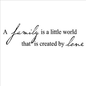 Family Is A Little World Created By Love Vinyl Lettering Wall Sayings ...