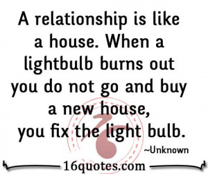 relationship is like a house. When a lightbulb burns out you do not ...