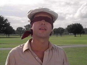 Chevy Chase, proving that sometimes a blindfold is the best golf ...