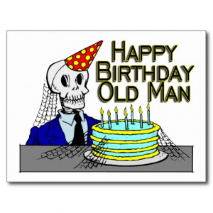 Happy Birthday Spider Web Old Man Postcards