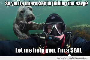under water animal interested joining navy help you i'm seal funny ...