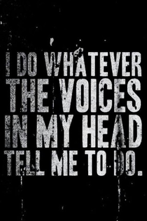 do whatever the voices in my head tell me to do.