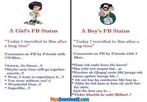Girls vs Boys facebook status – Funny