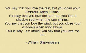Love. Paradoxes. Not Shakespeare but still good. Wise and real and sad ...