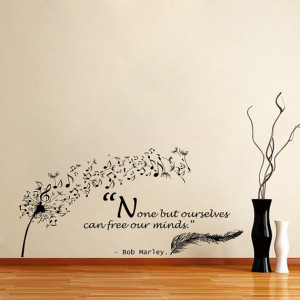 Wall Decals Quote Bob Marley Dandelion Feather Musical Notes Home ...