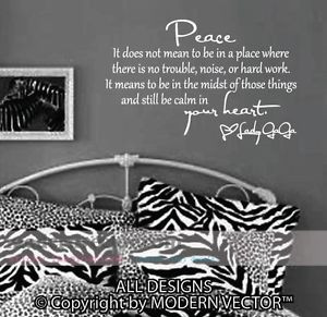 Details about Lady GaGa Vinyl Wall Quote Decal Lettering PEACE