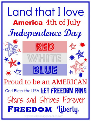 Click HERE for the 4th of July Printable - (8x10)