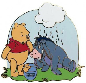 ... Come True > Pins > Winnie the Pooh with Eeyore under rain cloud pin