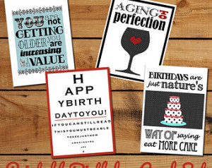 Printable Birthday Cards Set of Fu nny Birthday Quotes - DIY printable ...