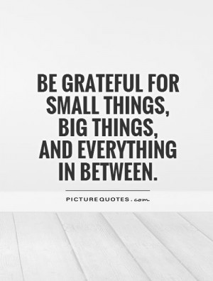 Be grateful for small things, big things, and everything in between ...