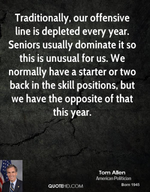 Traditionally, our offensive line is depleted every year. Seniors ...