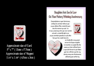 DAUGHTER & SON IN LAW 1ST TO 30TH WEDDING ANNIVERSARY CARD & MAGNET ...