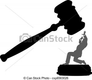 Vector - Business person in danger of court injustice gavel - stock ...