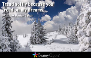 Tread softly because you tread on my dreams. - William Butler Yeats