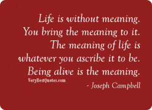 Life is without meaning. You bring the meaning to it. The meaning of ...
